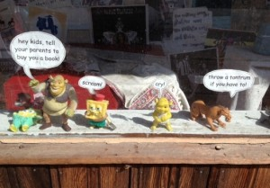This display was seen at a bookstore on our walk in downtown Macon.  Daddy warned me about this crew!