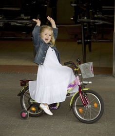 This is a real princes, not OURS.  Princess Amalia, Dutch heir, riding HER bicycle. But I am sure our girl sees herself as a princess riding her beautiful bicycle.