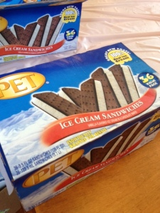 Ice cream sandwiches served last night as dessert--and PET no less.  Y'all know how I love me some PET dairy products.