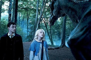 Harry and Luna Lovegood with a thestral