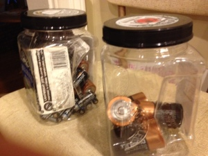 I finally got organized and stored my batteries in these rice jars.