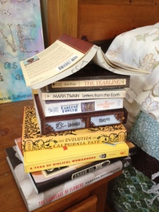 pic of bedside table books