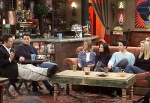 The crew from friends, doing what they do best, hanging out