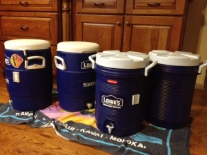 "Our coolers, ten gallons of ""picnic sweet"" tea, three of coffee, and three of hot water for hot chocolate, all ready to go!"