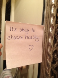 pic of note on my mirror