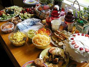 pic of table full of food