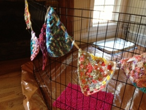 I finally learned to make the granny square triangles for my banner--Pinterest WIN!