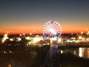 A view of our Ferris Wheel from the Agri-Lift.  Such a glorious sunset.