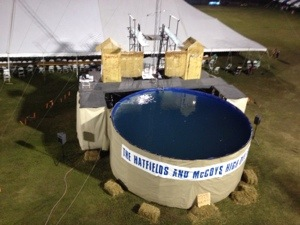 We didn't to see this show, but I am betting it is a humdinger.  The Hatfields and McCoys High Dive Show.  Because I always think of high dives when I think of feuding family stories.  Aub and I were wondering what they will do with all that water when they take the set down.....