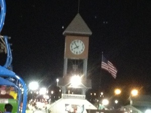 The clock tower which welcomes you to the Fair.  It is a great compass for how to find things.