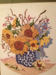 I dearly love this gift from Miss B.  She stitched with love and skill.