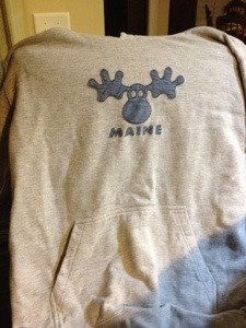 Tomorrow's hoodie.  This one The Fella brought me when he came back from his last deployment.  They had a layover in Maine, so he picked this up, because he knows I love Mooses and hoodies.