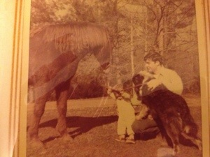 Daddy took time to teach me about life and living things.  Daddy, me, our pony Adabout, and our dog Pete