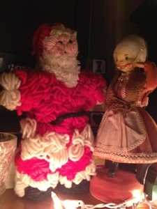 Santa and Mrs. Claus. As best as I can remember, Granny and Daddy made this together.