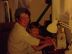 Mama and Aub.  Sewing on her machine.  They loved each other to pieces--they were like two peas in a pod.  So thankful Mama was so much a part of her growing up.