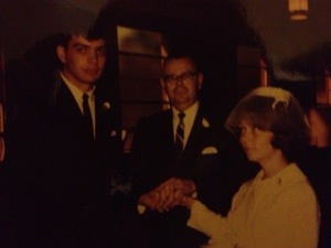That's my Great Uncle giving Mama away there.  He had nothing to worry about on that account.  And do you see how she's peeking up at him?  She adored him, and I know he thought she was pretty special too.