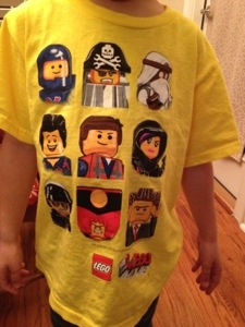 Cooter loves his new Lego Movie shirt