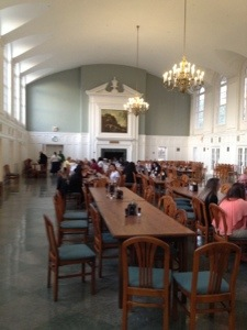 "The beautiful dining hall at Wesleyan.  As our Princess said, ""It's more beautiful than I thought it would be."""