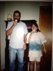 This picture was taken 19 years ago when I was expecting the first grandbaby.  He took me almost every week to DQ to get an ice cream cone.  I miss him every day.