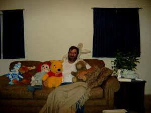 Cap on the brown couch during one of Aub's photo shoots in 2003