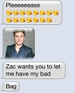 She started her pleas with Zac Efron from the High School Musical movies.  A long time love around here.