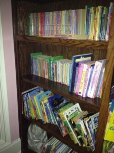 Princess' and Cooter's very own shelves to hold their very own favorite books.