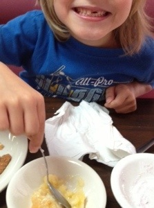 Look at that grin.  Is it any wonder I have a hard time saying NO? A boy and his peach cobbler.....