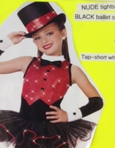 The costume for my girl's dance recital.  Snazzy, right?  Even more so with the bowtie!