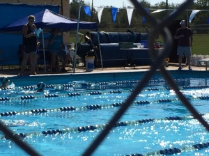 At our Princess' swim meet this morning.....she stayed buoyant through it all.