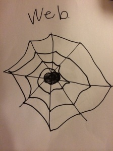 Princess' one spider--and she's done.  They will add the legs tomorrow.  Or not.  No need to relive the upset.