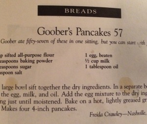 The much used page from my Aunt Bee's Mayberry Cookbook by Ken Beck.  I was going to post a picture of the pancakes, but I was to late because, well, pancakes.
