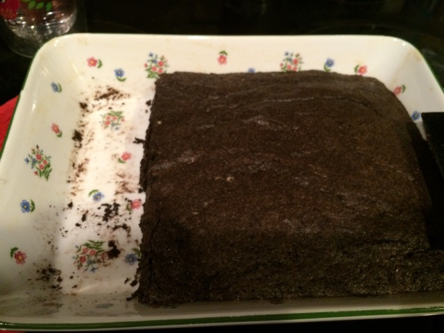 The pan of brownies to celebrate Daddy's birthday.  Unfortunately the littles were there before me and the camera were.