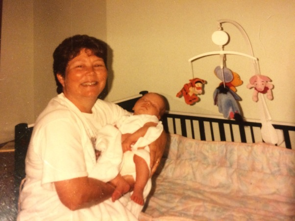 My Mama, doing what made her happiest, loving on her grand baby--my big girl--this was almost 20 years ago.  Where has the time gone?