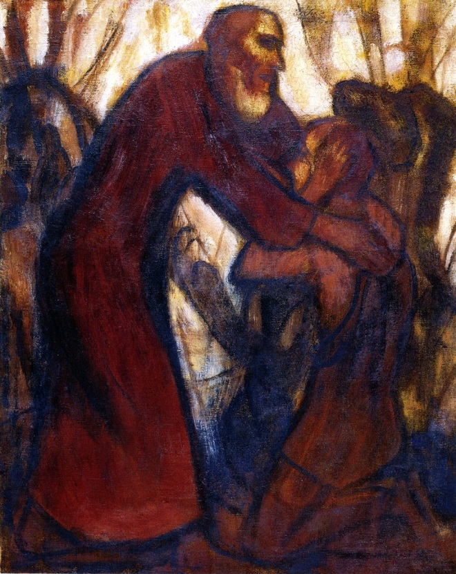 """Return of the Prodigal Son, 1914. CHristian Rohlfs"" by Creator:Christian Rohlf - http://www.the-athenaeum.org/art/detail.php?ID=71448. Licensed under Public Domain via Wikimedia Commons - https://commons.wikimedia.org/wiki/File:Return_of_the_Prodigal_Son,_1914._CHristian_Rohlfs.jpg#/media/File:Return_of_the_Prodigal_Son,_1914._CHristian_Rohlfs.jpg"