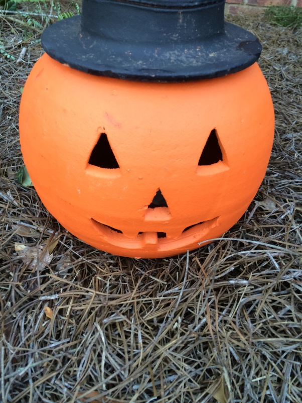 So cute, Mr. Pumpkin with his top hat!  I'm thinking I will get battery tea lights to put inside at night.