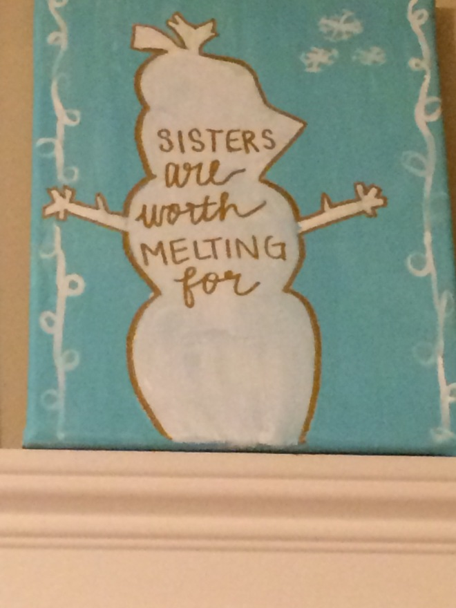"""This year's gift from her big sister, just given early tonight by her """"returning to college"""" sister.  This one melts MY heart."""