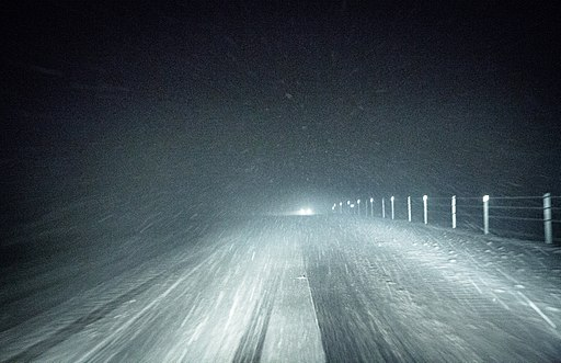 headlights in the dark